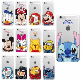 Wholesale Iphone Cases Mario - Cartoon Minnie Mickey Pooh Batman Iron man Super Mario Soft Case For iPhone 7 6 6S Plus 5S 5C 4S Case