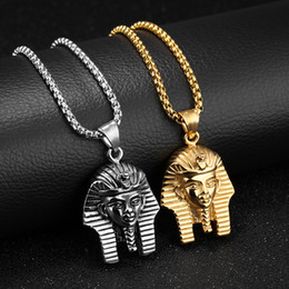 Wholesale Boyfriend Christmas Gifts - Vintage Retro Men Necklaces Egyptian Pharaoh Pendants Chain Necklace Masquerade Party Stainless Steel Jewelry Birthday Gift for Boyfriend