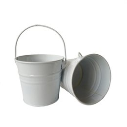 Wholesale White Pails - D10.5*H9.5CM Mini Small Rustic Metal garden pail bucket tin box Iron pots White wedding bucket