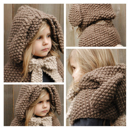 Wholesale Cartoon Shawl - winter hats wool cap thick warm ear rabbit scarf knitted shawl cloak hat hedging cute cartoon baby hat free shipping