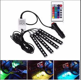 Wholesale Audi Led Strips - 12V Auto Car 7 Colors RGB LED DRL Strip Light Remote Control Atmosphere Lamp Audi A3 A4 A6 A8 Q3 Q5 Q7 TT