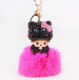 Wholesale Monchichi Dolls - New Style Cute Dolls Monchichi Keychain Inlay Rhinestone Pink Bowknot Fur pom pom key chain Woman Bag Charm Pendant porte clef