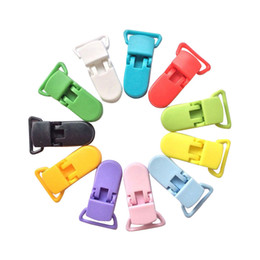 Wholesale Suspenders Plastic Clips - Wholesale-Colorful Plastic Pacifier Clips Soother Dummy Bib Suspender Toy Holder Unisex Pacifier Clips Soother Holder For Baby