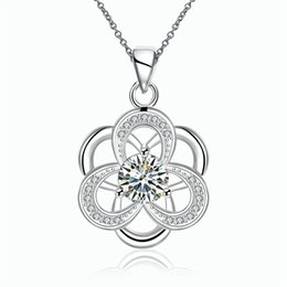 Wholesale Brass Jewerly - Wholesale Jewerly Necklaces Pendants Another silver European and American Fashion Classic Hollow Flower White Zircon Necklace