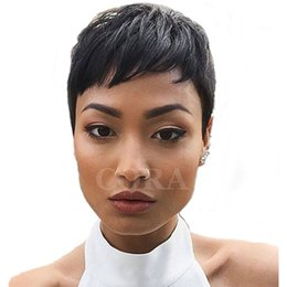 Wholesale Black Celebrity Lace Front Wigs - 2016 celebrity wig Machine made pixie short lace front brazilian hair human hair wig straight human hair ladies wigs for black women