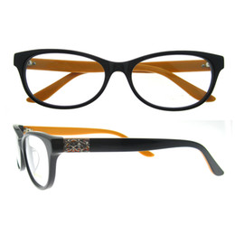 Wholesale mix order no moq oval golden hollow flower matal temple decoration full rim acetate delicate women spectacles frame