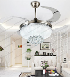 Wholesale Hidden Pendant - 2017 NEW European simple design crystal pendant Light 42inch ceiling fan light blades hidden fan Invisible Blades Ceiling Fans ceiling fan