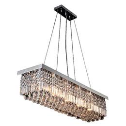 Luce moderna ciondolo rettangolare in cristallo online-Moderna lampada a sospensione rettangolare lampadario di cristallo di lusso apparecchi di illuminazione a LED Splendida illuminazione per camera da letto hotel sala da pranzo
