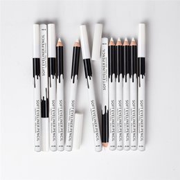 Wholesale White Eyeliner Waterproof - 12pcs lot MENOW Brand Makeup Silky Wood Cosmetic White Eyeliner Pencil Silkworm White Highlight Pen 12pcs set Waterproof Eyeliner P112