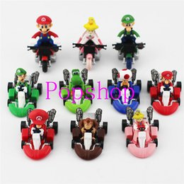 Wholesale Mini Pull Back Car - Hot Sale!20pcs 2set Super Mario Bros Kart Pull Back Cars Mini Cars Gift For Children Free Shipping
