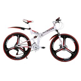 Wholesale Rear Suspension Bikes - Altruism X6 24 Speed 26 Inch Aluminum Mountain Bike Disc Adult folding two-disc brakes Rear Suspension Bicycle