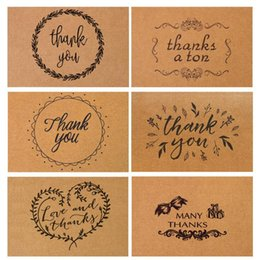 Wholesale Papers For Greeting Cards - 15*10cm Vintage Kraft Paper Thank You Card With Envelope For Thanksgiving Greeting Card Best Happy Birthday