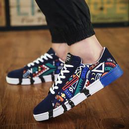 Wholesale Rubber Ends - Fashion Shoes Men High End New Style Shoe Men Casual Print Shoe Men canvas Breathable Lace Up Style Trend Canvas Shoes