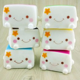 Wholesale Pillow Roses - 20PCS New Tofu Slow Rising Squishy Soft Bean Curd Scented Squishies Charms Kids Toys Random toy soft hand pillow Chain Phone