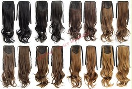 """Wholesale Wavy Ribbon - Wholesale-Fashion Drawstring Ribbon Wavy Curly Ponytails Hair Extensions 24"""" 60cm 100gram Synthetic Hairpieces More Color Optional"""
