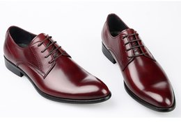 Wholesale Work Business Dresses - Concise Comfortable Genuine Leather Business Mens Shoes Lace-Up Pointed Toe Fashion Work Shoes 2016 Autumn Formal Wear Man Shoes