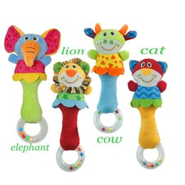 Wholesale Baby Toy Doll Stroller - New Kid Lion Cat Cow Elephant Hand Bell Bed Stroller Doll Animal Baby Rattle Toys
