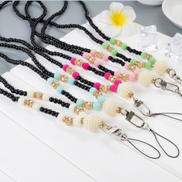 Wholesale Cell Disk - Artificial pearl Neck Necklace Strap Lanyard U Disk ID Work Card Mobile Cell Phone Chain Straps Keychain phone Hang Rope