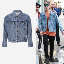 Wholesale Men Hooded Jean Jacket - Wholesale- S-L veste homme men clothes hip hop brand clothing gd jackets coat kanye justin bieber fear of god jean denim jacket