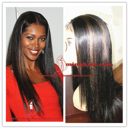 Wholesale highlights front lace - #1b-30 HighLights Yaki Striaght Brazilian Virgin Human Hair Full Lace Wig Glueless Front Lace Wig