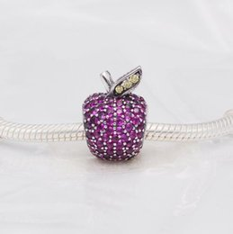Wholesale Food Apples - 2017 New Stunning 925 Sterling Silver Beads Pave Apple Charm with Fancy Cubic Zircon Fit Pandora Bracelet DIY Jewelry Making