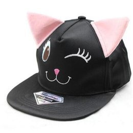 Wholesale Hiphop Hat Korean - Korean Fashion Dance Baseball Cap Flat Hiphop Cap Cute Fitted Hat Black Cat Ears Cotton Hat Embroidered Snapback Baseball Cap