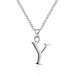 Wholesale Initial Silver Letters - ECO-friendly Unisex Silver Plated Brass Metal Letter Y Slide Pendant Initial Necklace from Guangzhou Free Shipping