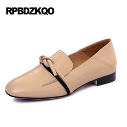 Wholesale Nude Loafer - Square Toe Knot 2017 Nude Office Slip On British Style Designer Women Flats Loafers Footwear Shoes China Comfortable Ladies
