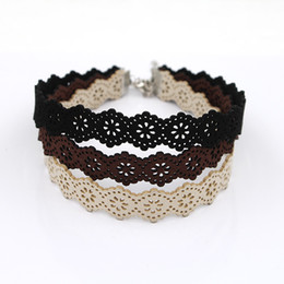 Wholesale black ribbon choker - New Arrivals Eueropean Style Black Brown Beige Velvet Choker Necklace Wide 17MM Burlesque Gothic Lace Ribbon Necklaces For Women