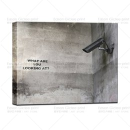 "Wholesale Modern Graffiti Art - HD Canvas Print Banksy Street Art ""What are you looking at ""? Urban Graffiti Art Living Room Wall Pictures Modern Canvas Wall Art"