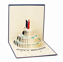 Wholesale Invitations Anniversary - Birthday Cake Candle Design Greeting Card 3D Handcrafted Origami Envelope Invitation Card Kirigami Anniversary Pop Up Wholesale