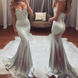 Wholesale Sliver Strapless Mermaid Dress - Sliver Mermaid Evening Dresses 2017 Exquisite Beaded Satin Floor Length Long Formal Evening Dress Custom Made Arabic Prom Party Gowns