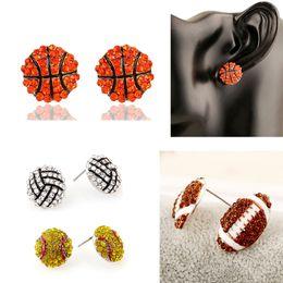 Wholesale Rhinestone Volleyball - New Fashion Sports Game Ball Post Stud Earrings Rhinestone Basketball Volleyball Baseball American Football Fan Jewelry Gifts Wholesale