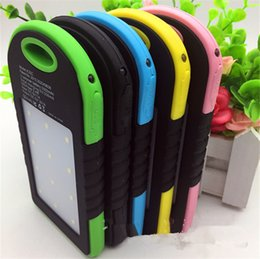 Wholesale Iphone 4s Powerbank - Hot Waterproof Solar Power Bank 5000mAh Portable Charger Travel Enternal Battery Powerbank for Xiaomi Iphone 5S 6 4S HTC Sumsang