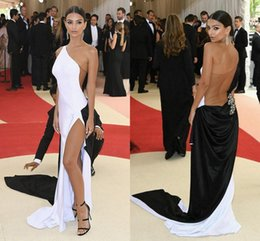 Wholesale Dresses Met - Sexy Met Gala Celebrity Evening Dresses One Shoulder High Split Tulle Elastic Satin Black White Long Prom Dresses Tan See Through Back