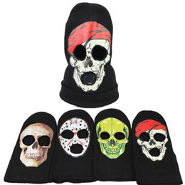 Wholesale cool hats for winter - New 4 Designs Halloween Horror Knitted Headband Ghost Mask Cosplay Hat Cool Demon Winter Beanies IC778