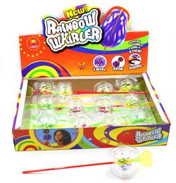 Wholesale Juggling Wholesale - Wholesale- 4pcs Card package New Rainbow whirler Funny bubble stick toy.19cm No led PVC juggle bubbles rolling twirly stick bubble