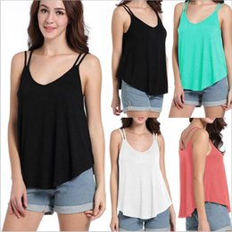 Wholesale Sexy Sun Clothes - Loose Undershirt Fashion Casual Tops Summer Sexy Tees Female Casual Blouse V Neck Vest Sleeveless Camis Tanks Sun-top Women Clothing B2580