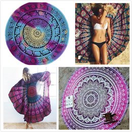 Wholesale Chiffon Beach Towel - New Chiffon Printed Round Beach Towels Yoga Mat Mandala Tapestry Hippy Boho Bohemian Beach Blanket Serviette Covers Beach Shawl Wrap