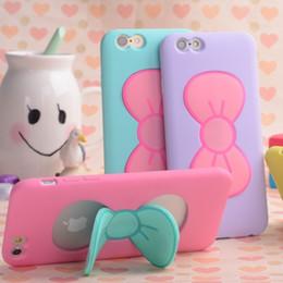 Canada Cas Pour iPhone 7 6 S Plus De Mode Belle 3D Bow-knot Doux Silicone Cas Pour iPhone 6 6 S 5 5SE 4 4 S Bonbons Couleur Support Titulaire Couverture Offre