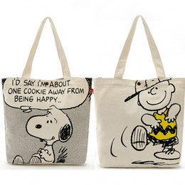 Wholesale Gift Bags For Christmas - Wholesale Two-sided Kawaii Snoopy Cartoon Dogs Canvas Shopping Bag 33*38*8CM Handbags For Women Large capacity bags Christmas Gifts