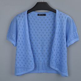 Wholesale wholesale long sleeve shrugs - Wholesale-Hollow Out Summer Women V-Neck Knitted Casual Short Sleeve Cardigans Sweaters Lady Knitting Shrugs Open Stitch Shawl Outwear 858