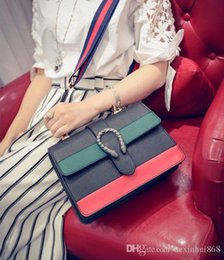 Wholesale Black Military Singles - Free shipping 2017 new summer sea military stripe bamboo snake female single shoulder bag Dionysus women bag