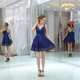 2019 um ombro vestido de chiffon doce Simples Azul Royal Mini Curto A Linha Vestidos Homecoming 2017 Sexy Profundo Decote Em V Sem Encosto Cocktail Party Vestidos Lace Borda Barato Prom Vestido