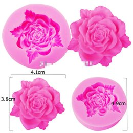 Wholesale Silicone Molds Fondant Flowers - Rose Leaf Flower Shaped Silicone Mold Chocolate Candy Resin Clay Crafts Molds Fondant Cake Decorating Tools