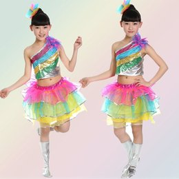 Wholesale Latin Dance Skirts Wholesale - 10Set lot 2017 New Arrivel Girl Oblique Sequins Colofull Skirt Latin Ballet Stage Costume Dance Wear Children Performance Clothing 0612