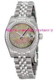 Wholesale Watche Automatic Luxury - Top Quality Luxury Watches Lady Black Mother Of Pearl Roman Dial Fluted 18kt White Gold Bezel Steel Jubilee Bracelet Watch 26mm Wrist Watche