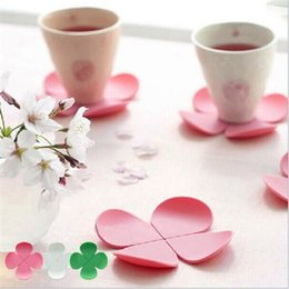 Wholesale Table Mats For Tea Cups - Wholesale- RUBIHOME silicone placemat cup coaster creative table mat flower shape for coffee and tea