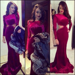 Wholesale Orange Colored Dresses Plus Size - long sleeve prom dresses wine red colored burgundy mermaid evening dress gown formal party dress