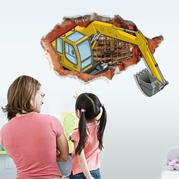 Wholesale Glass Painting For Children - SK9075 3D Excavator Wall Stickers Cartoon Transportant instructions DIY Decor Painting Child&Adult Room Decals